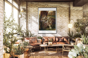 The Lament For Icarus Fine Art Print Hanging In A Sun Room