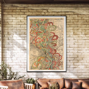 Harold Fisk Sheet 6 Mississippi River Map framed hanging in a sun room