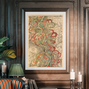 Harold Fisk Sheet 6 Mississippi River Map Framed Hanging In A Library