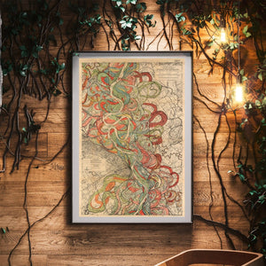 Harold Fisk Sheet 6 Mississippi River Map framed hanging in a waiting area