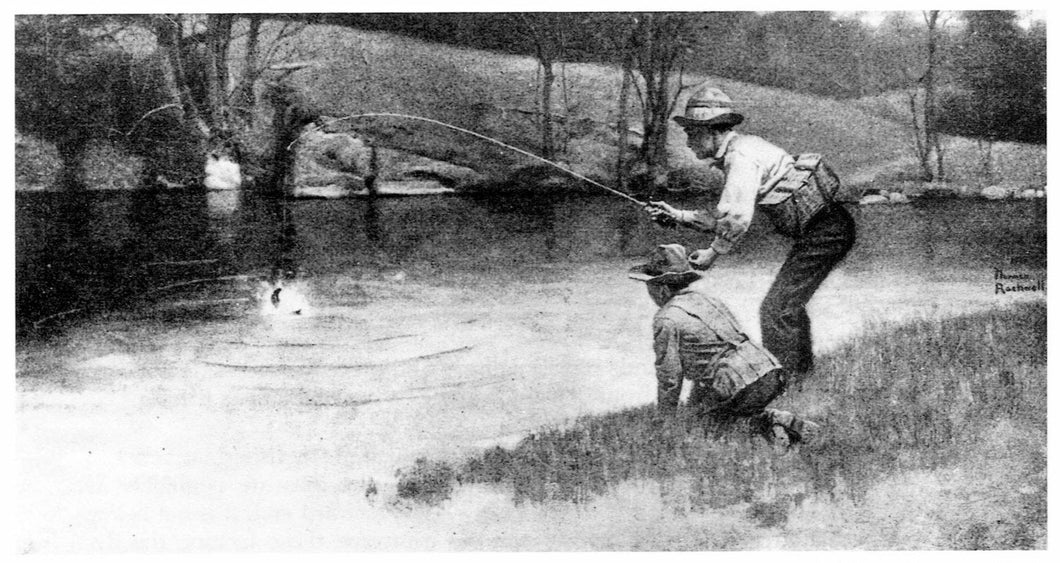 Norman Rockwell Print, Along the Trout Stream, Art Print, Fishing Art, Fisherman, Fishing Decor, Fishing Gifts