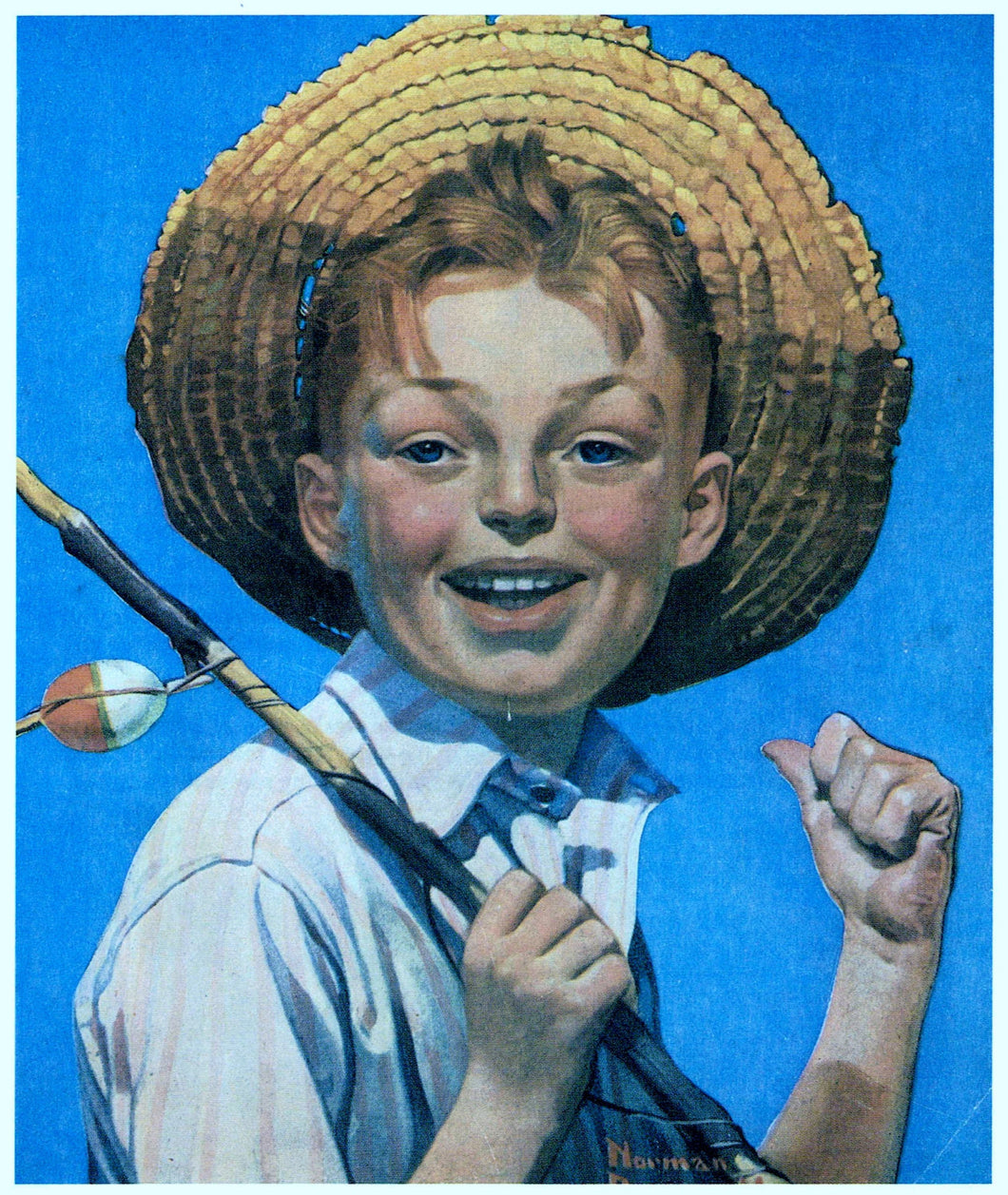 Vintage, Art Print, Norman Rockwell, Boy with Fishing Pole 1919, Fishing Print, Fishing Decor, Fishing Gifts for Men, Fishing Gifts, Fishing