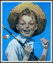 Load image into Gallery viewer, Vintage, Art Print, Norman Rockwell, Boy with Fishing Pole 1919, Fishing Print, Fishing Decor, Fishing Gifts for Men, Fishing Gifts, Fishing