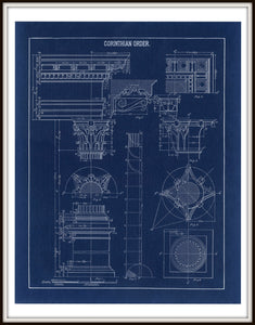 Corinthian Column Blueprint Architectural Drawing In A Simple Black Metal Frame
