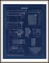 Load image into Gallery viewer, Grecian Ionic Column Parts Blueprint Architectural Drawing Art Print Framed