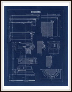 Grecian Ionic Column Parts Blueprint Architectural Drawing Art Print Framed