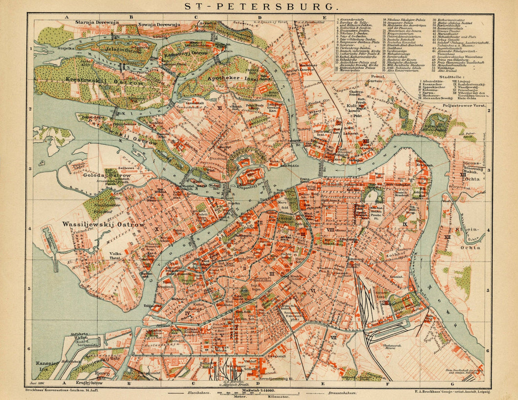 St. Petersburg Russia Vintage Map Print