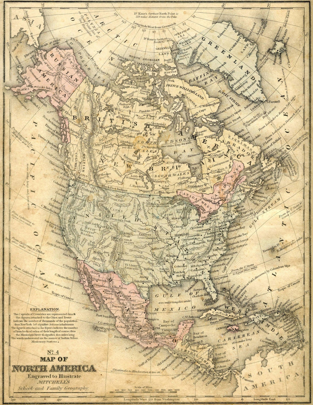 Mitchell's No. 4 Map of North America, School & Family Geography Print