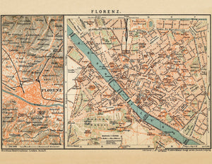 Florence Italy Vintage Map Print