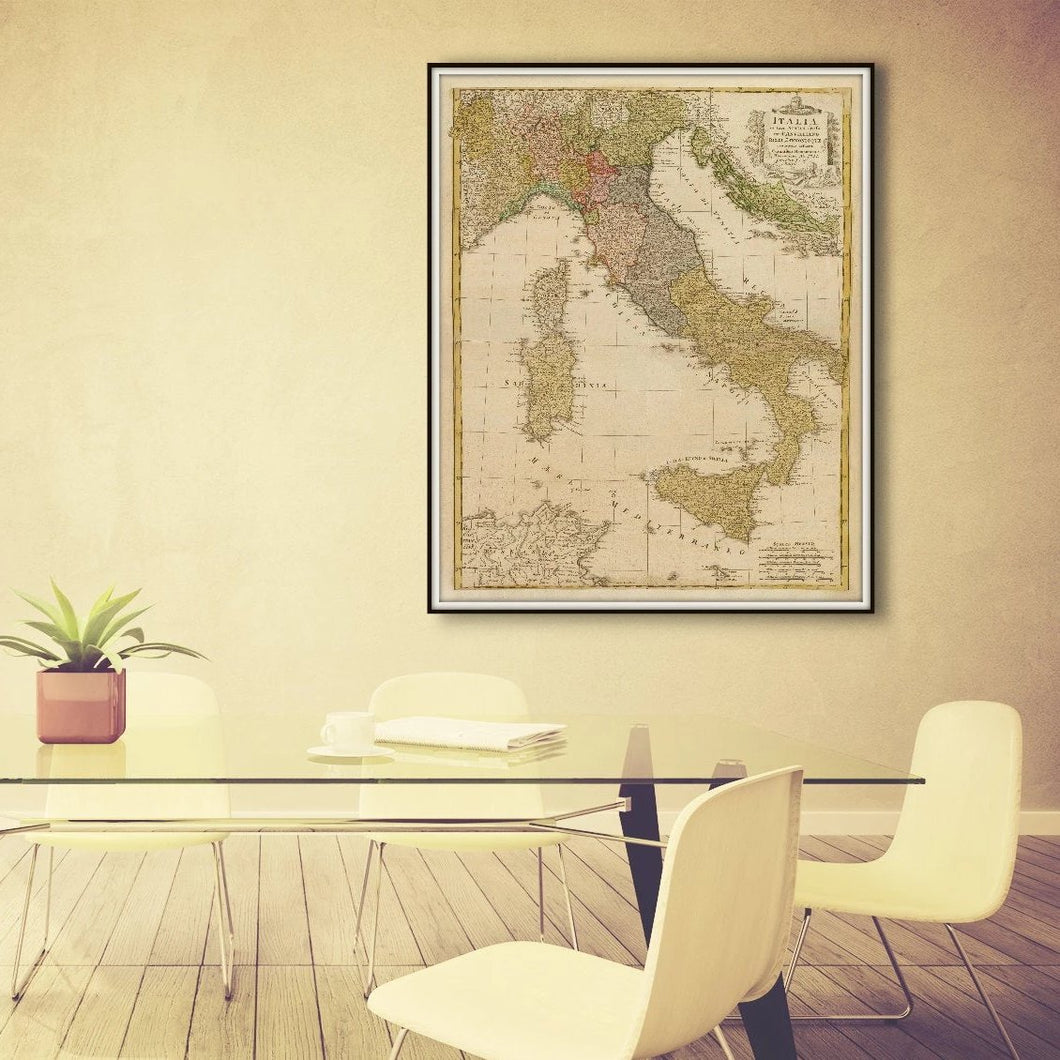 Vintage Italy Map Print From 1790 Framed & Hanging In A Conference Room