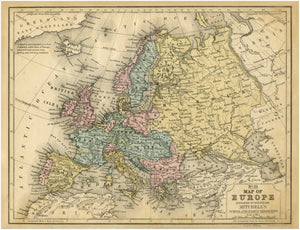 Mitchell's No. 21 1852 Map of Europe & Russia Reproduction Art Print