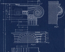 Load image into Gallery viewer, Grecian Ionic Column Parts Blueprint Architectural Drawing Art Print Closeup