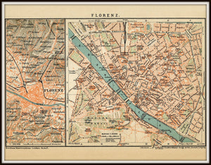 Florence Italy Vintage Map Print In A Simple Black Metal Frame