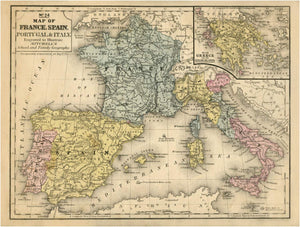 No.24 Map of France, Spain, Portugal & Italy Art Print