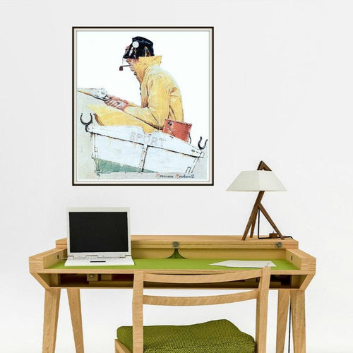 Norman Rockwell Sport Fishing Print Above A Desk