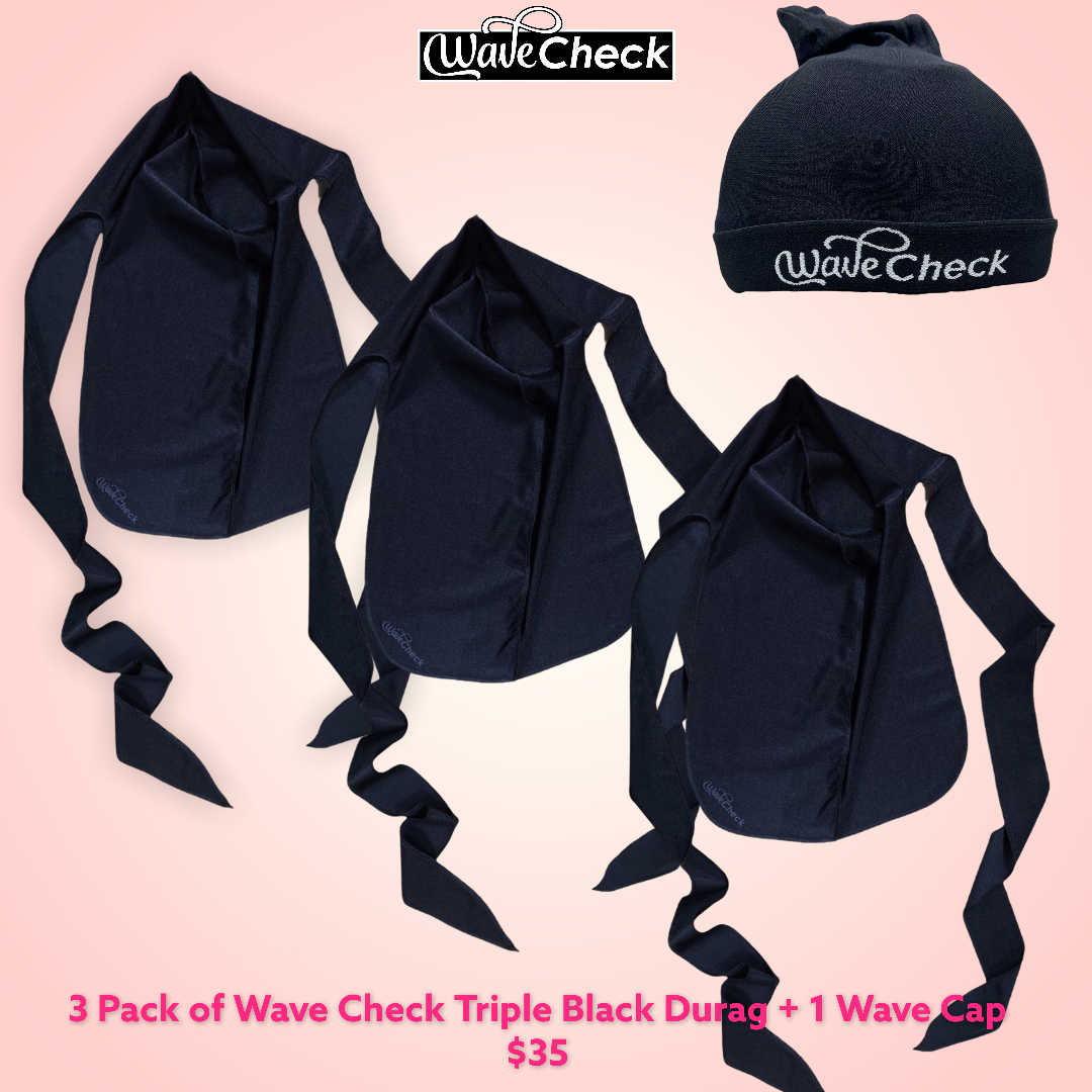 Wave Check Family Pack ( 3 W.C. Triple Black Cozy Rags + 1 Wave Cap)