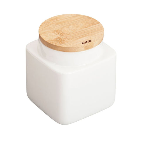 Aava – Natural White Ceramic Jar with Bamboo Lid, Small