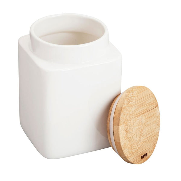 Aava – Natural White Ceramic Jar with Bamboo Lid, Large