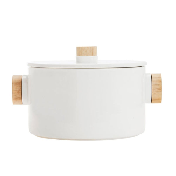 Aava – Nordic Serving Bowl with Wooden Knobs & Lid