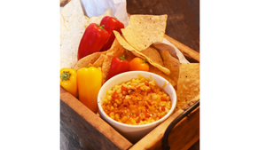 Cheesy, Spicy Corn Dip with Crispy Tortilla Chips