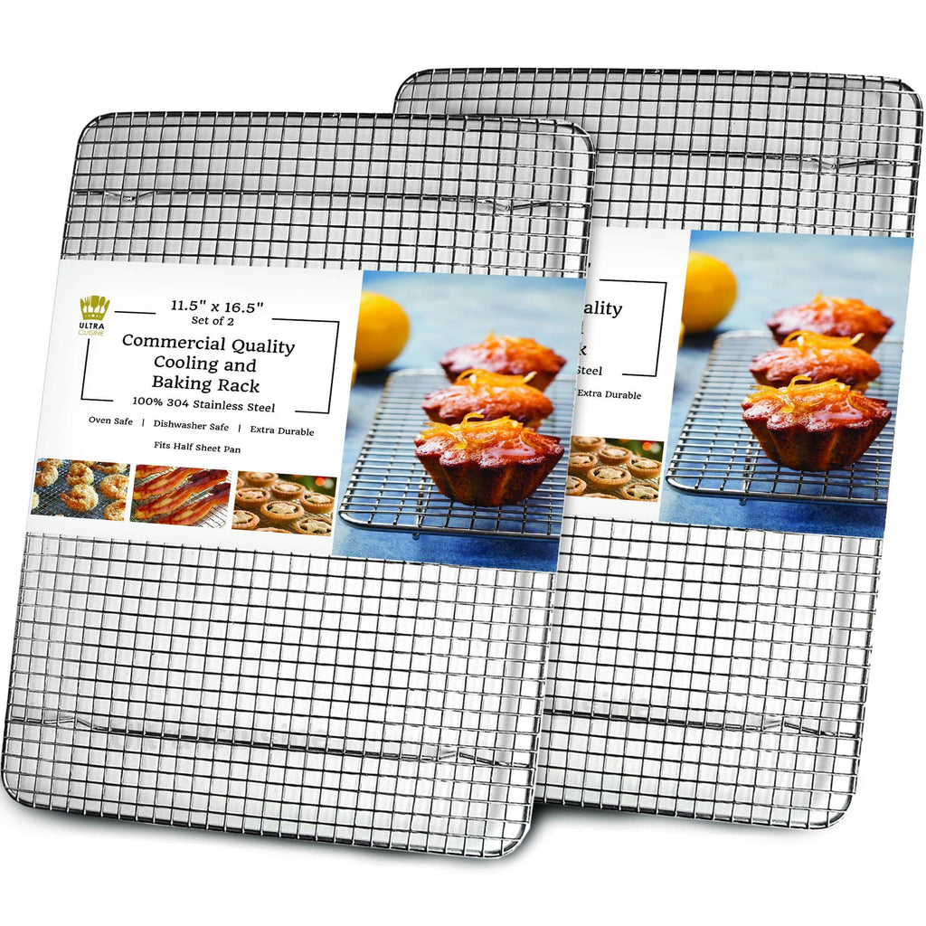 Ultra Cuisine 11.5x16.5in (2 Pack) Baking and Cooling Rack (Half Pan Size - 2 pack)