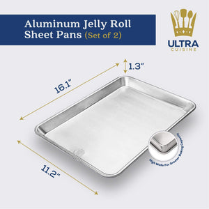 Ultra Cuisine Aluminum Jelly Roll Baking Pans (Set of 2)