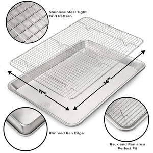 Ultra Cuisine Baking Pan and Rack Set (Half Pan Size)