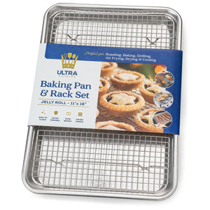 Ultra Cuisine Baking Pan and Rack Set (Jelly Roll Size)