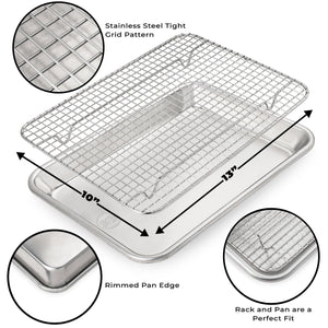 Ultra Cuisine Baking Pan and Rack Set (Quarter Pan Size)