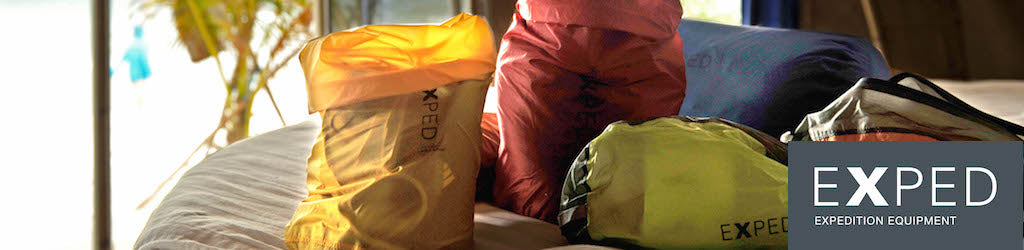 Selection of Exped drybags on table