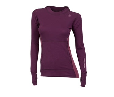 ACLIMA WarmWool Woman's Hood Sweater - Grape Wine/Damson