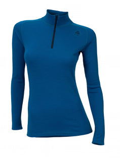 ACLIMA WarmWool Womens Mock Neck w/Zip - BlueSapphire
