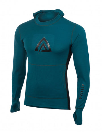 ACLIMA WarmWool Men's Hood Sweater - DeepTeal/JetBlack
