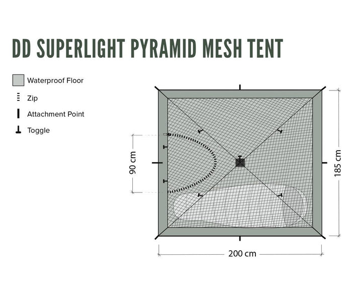 Floorplan for DD Superlight Pramid Mesh Tent