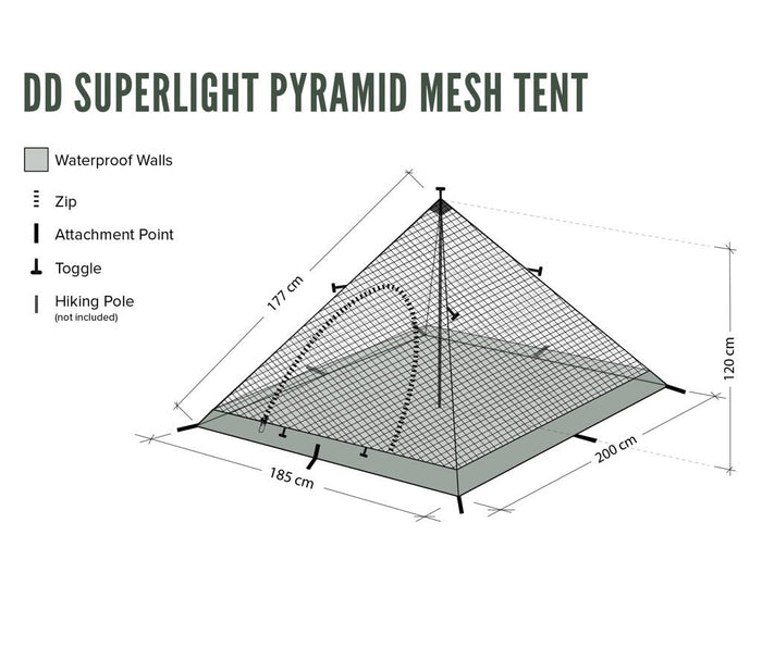 Dimensions of DD Superlight Pyramid Mesh Tent