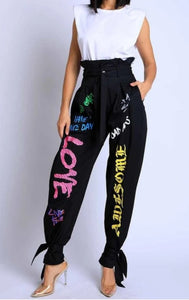 Grafitti Tie Bottom Pants