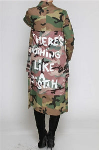 "Camo ""There is nothing like a sistah"" jacket"