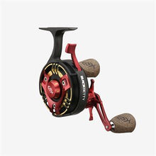 Load image into Gallery viewer, 13 Fishing® Black Betty FreeFall TRICKSHOP EDITION Red / Gold / Silver Inline Ice-Fishing Reel -- FREE SHIPPING! -- 10% off 'till 12/06/20.  Use Discount code 13FISHING at checkout screen to get discount