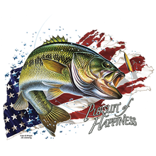 Load image into Gallery viewer, SolarTrans Largemouth Bass with an American flag background T-shirt