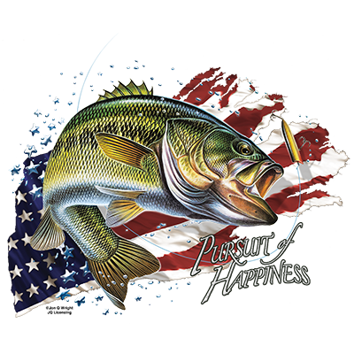 SolarTrans Largemouth Bass with an American flag background T-shirt