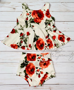 Red Floral Peplum Set