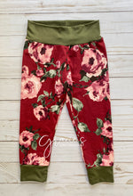 Load image into Gallery viewer, Burgundy Bloom Pants