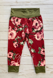 Burgundy Bloom Pants