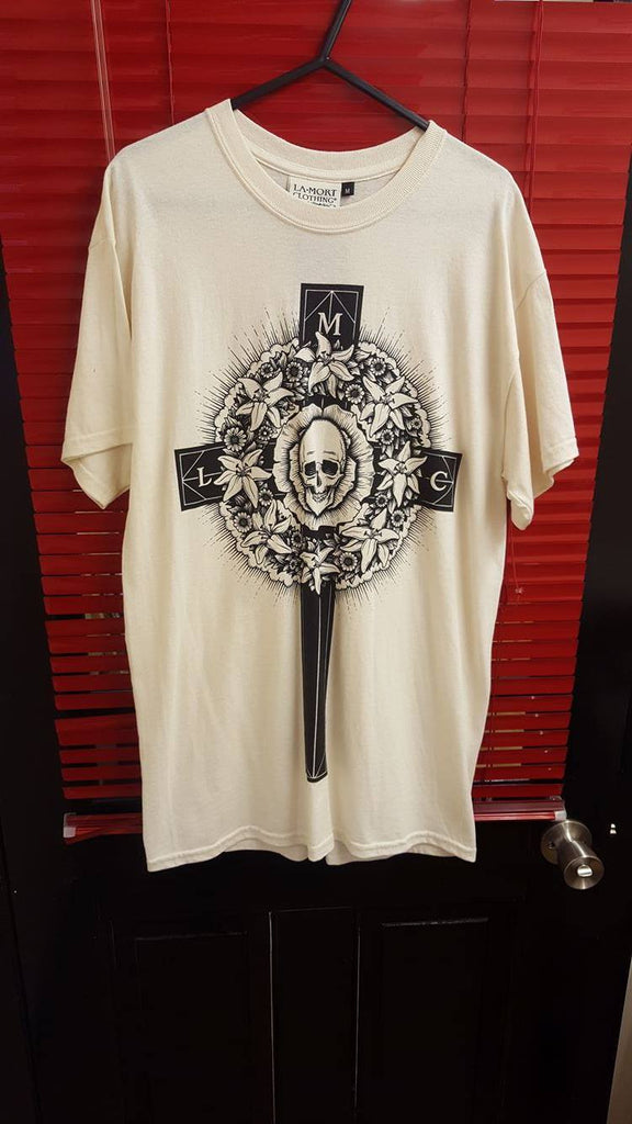 La Mort Skull and Flowers Cross