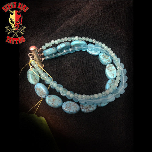 Blue Beaded Bracelet - Seven Sins Tattoo