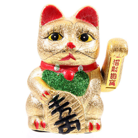 Maneki Neko Waving Cat, Eyes Open 17cm