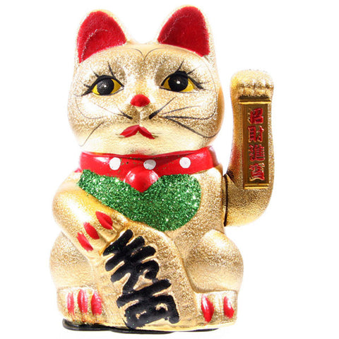 Maneki Neko Waving Cat, Eyes Open 21cm