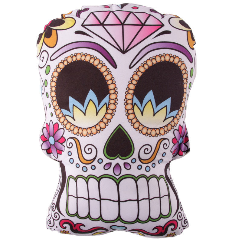 Day of the Dead Skull Shaped Printed Cushion with Insert - Seven Sins Tattoo