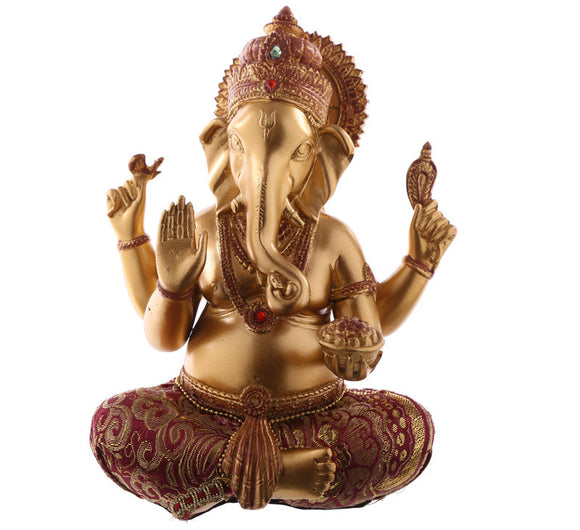 Gold and Red Ganesh figurine
