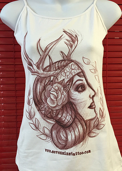 Gypsy Antlers Girly Vest - Seven Sins Tattoo